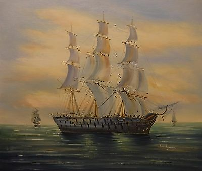 Sailing warship 3 masts 24x20 OIL PAINTING on flat canvas signed BEN EVANS