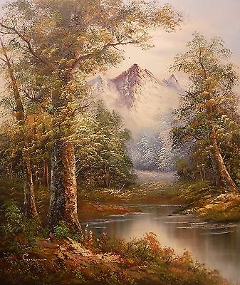 Summer woodland with mountain 24x20 OIL PAINTING on flat canvas signed GORMAN