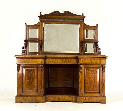 B674 Antique Scottish Victorian Mahogany Inverted Mirror Back Sideboard, Buffet