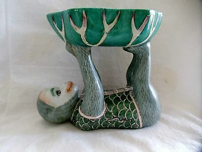 Vintage Chinese  Porcelain Monkey Candy Trinket Dish Soap Tray Dragons Green