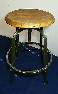 Metal/Wood Industrial Drafting Stool/Chair - Steel equipment MFRS. - Steampunk