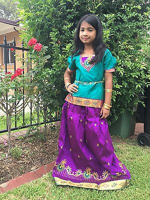 """32"""" Age 9 To 10 Bollywood Kids Girls South Indian Silk Skirt Blouse Purple Green"""