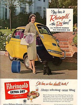 1958 BMW Isetta ad for Rheingold - very, very rare yellow car
