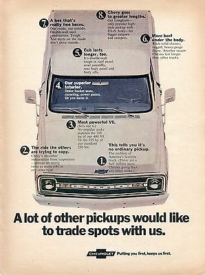 1970 Print Ad of Chevrolet Chevy Longhorn Pickup Truck