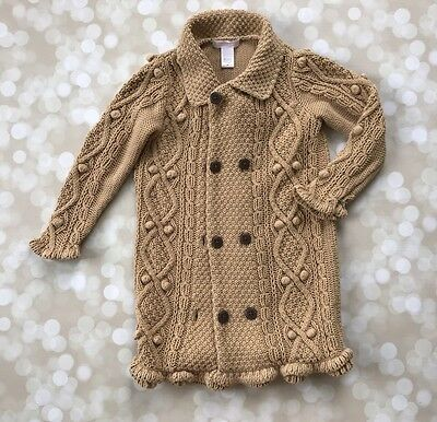 EUC Janie And Jack Western Equestrian Sweater Cardigan Cable Knit Duster Tan  2t