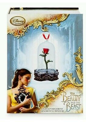 Disney Store Live Action Beauty & The Beast Enchanted Rose Light Up Ornament NIB