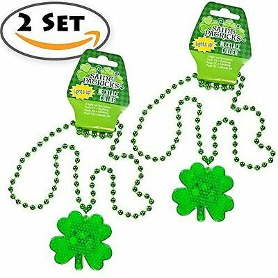 2 Set St. Patrick's Day Plastic Light-Up Shamrock Necklaces, LED Battery
