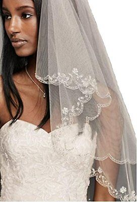 """Pale Ivory 2 Tiers 35"""" Fingertip Length Wedding Veil Pearls Sequins Scallop Edge"""
