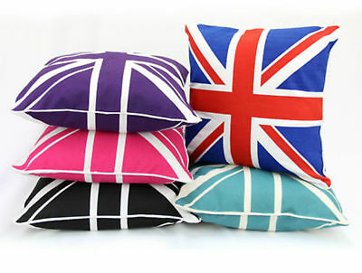 """Union Jack 100% Cotton Cushion Covers,Sofa Cases Couch Pillow 18""""x18"""" Piped Edge"""
