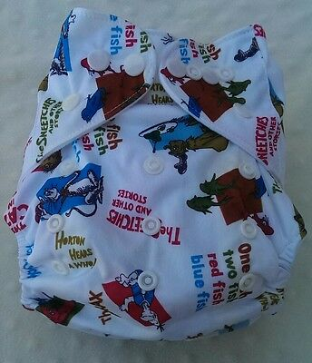 One New Dr. Seuss Pocket Cloth Diaper Nappy Reusable Washable Adjustable
