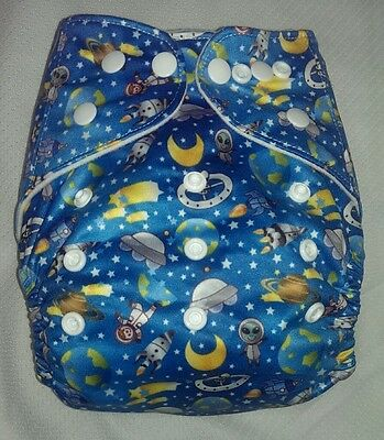 1 New Pocket Cloth Astronaut Diaper Nappy Washable Adjustable Size Eco Friendly