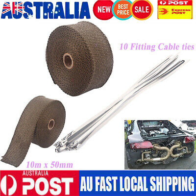 Heavy Duty Wrap 50Mm X 10M + 10 Stainless Steel Ties 1022F Titanium Exhaust Heat