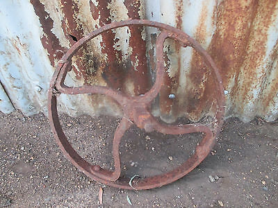 "No--06--OLD  VINTAGE  STEEL   WHEELS   GREAT   DISPLAY -16 ""  H x 1  1/4 """