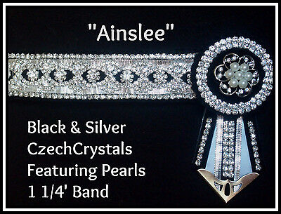 Black and Silver Bling Browband cob size Pearls
