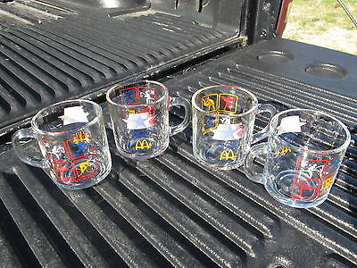 4 Vintage Mcdonalds 1984 Olympic Cups Clear Glass Anchor Hocking Nice