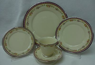 LENOX china AMETHYST pattern 5-piece Place Setting cup saucer dinner salad bread