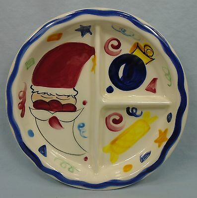 "Vicki Carroll Divided Partioned Dish Bowl Christmas Holidy Theme 7.5"" c 1993"