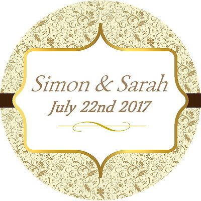 Wedding Favour Labels,thank You Stickers ,cream & Gold Gloss Seals, 4 Sizes