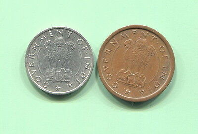 India - Two Beautiful Early 1950's Coins, Pice & 1/4 Rupee