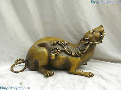 Fine brass copper sculpture Rat luck treasure China Feng Shui mouse Statue