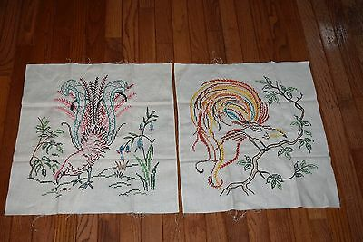 "VTG Pair Embroidery Birds Peacocks Bird of Paradise Pillow Wall Art 15.5""x18"""