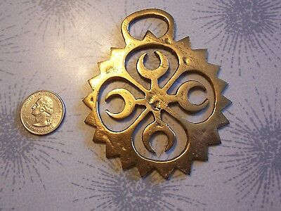 Horse Brass Tack Medallion~Saddle PARADE ADORNMENT~4 CRESCENT MOONS IN SUN
