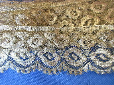 "SUPERB ANTIQUE EARLY 1900s 1 1/4"" wide DELICATE GOLD METALLIC LACE~NOS~2 yards"