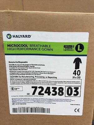 40 Halyard MicroCool Breathable High Performance Gown Large 4 x 10 72438 03