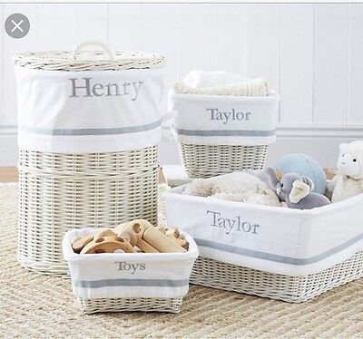 Pottery Barn Kids Sabrina Harper Grey And White Basket Liners And Weaved Basket