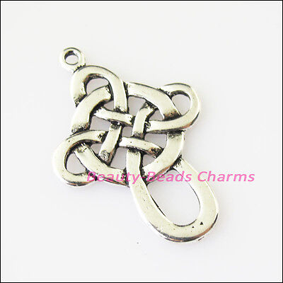 6 New Chinese Knot Connectors Tibetan Silver Tone Charms Pendants 22x32mm