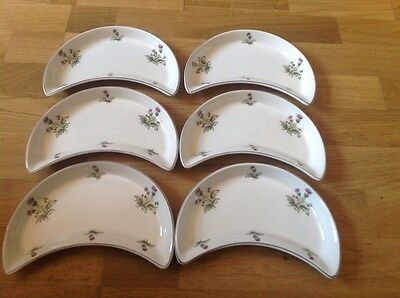 Maddock Royal Vitreous England 6 Half Moon Shaped Serving Dishes Thistle Pattern