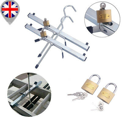 2 Sets Padlock Roof Racks Locking Ladder Clamps Kit for Ladders Locking Security