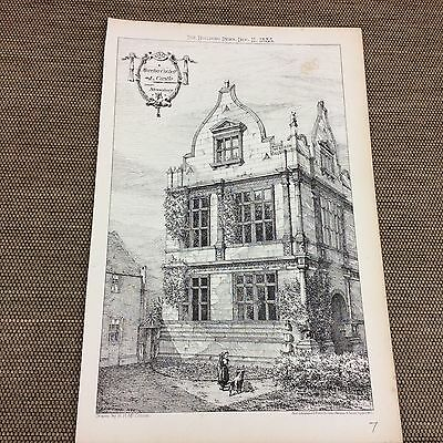 1885 original Architects print - Moreton Corbet Castle nr Shrewsbury