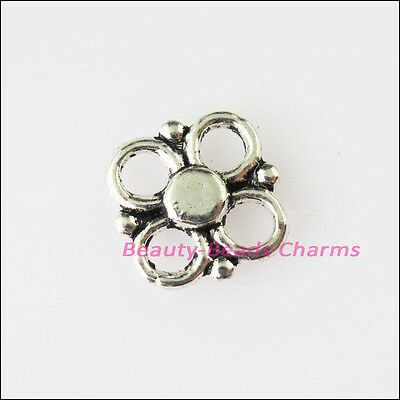 45 New Tiny Flower Connectors Tibetan Silver Tone Charms Pendants 8.5mm