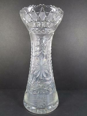 "Antique American Brilliant Period 12"" Cut Glass Vase ca 1876-1917 (#4-5)"
