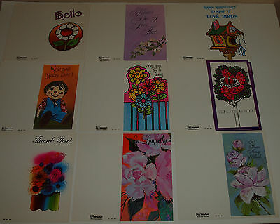 Vintage Lot 20 Unsigned GREETING CARDS 70s MOD Bright Colors CRAFTS Scrapbook