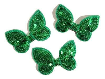 "3 pieces emerald green 2/"" butterfly sequin bow DIY baby headband supplies"