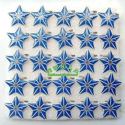 Wholesale Blue Stars Flashing LED Light Up Badge/Brooch Pins Party Favors Q153