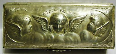 RARE 1900's ANTIQUE BEAUTIFUL STERLING SILVER EMBOSSED TRINKET / DRESSER BOX++++