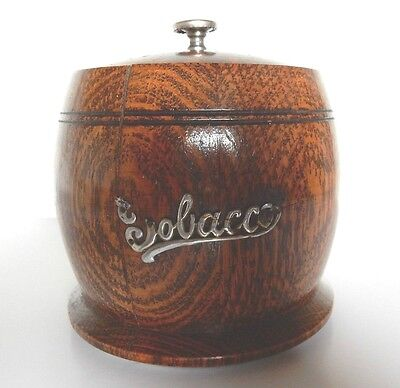 Antique Solid Wooden Tobacco Pot, with lid c.1950