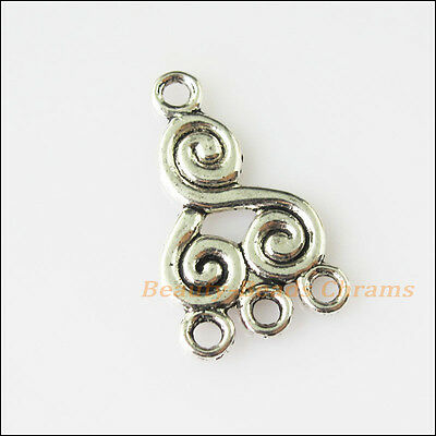 12 New Chinese Knot Connectors Tibetan Silver Tone Charms Pendants 12.5x21mm