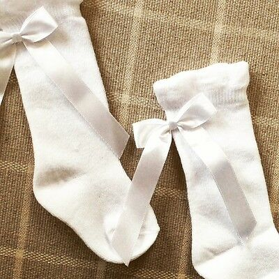 white knee high baby socks with back silk bows 3-6m