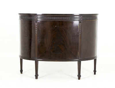 B588A Antique Scottish Flamed Mahogany Demi Lune Sideboard, Cabinet, Cupboard