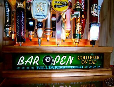 Lighted 18 BEER TAP HANDLE DISPLAY / BILLIARDS POOL HALL KEGERATOR BAR SIGN