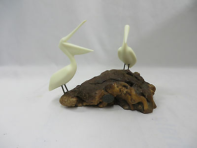 Vintage John Perry White Pelican Sculpture on a Natural Burlwood Base
