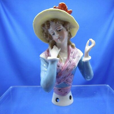 Antique Half Doll Collection Lovely Lady with a RED BOW Pin Cushion