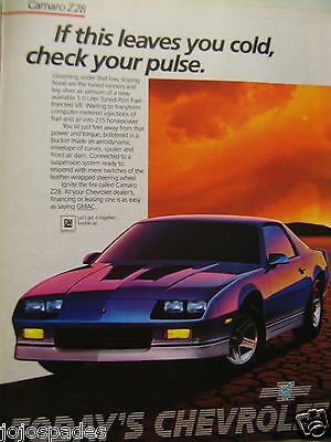 "1985 Chevrolet Camaro Z28 Original Print Ad 8.5 x 10.5""Check Your Pulse"
