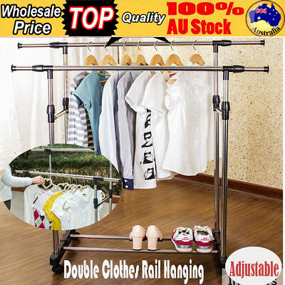 Adjustable Double Clothes Rail Hanging Garment Dress On Wheels W/ Shoe Rack HOT