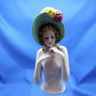 Antique Half Doll Collection Very Large Arms Away Pin Cushion with BIG Green Hat