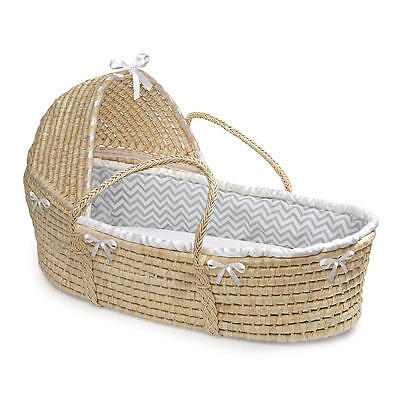 Badger Basket Natural Hooded Moses Basket with Bedding - Gray Chevron